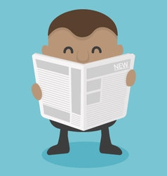 Young African businessman reading newspaper vector image