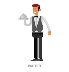 Young handsome waiter vector image