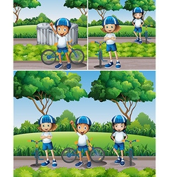 Boys and girls riding bike in garden vector image vector image