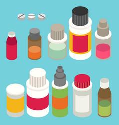 Flat 3d isometric pharmaceutics pharmacy drug vector