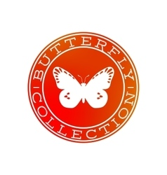 Butterfly collection white label design vector image vector image