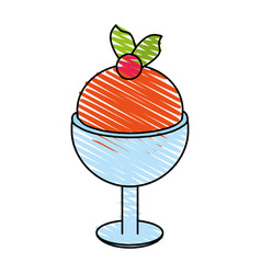delicious ice cream in cup with topping icon imag vector image vector image