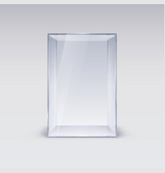 empty glass showcase on white background vector image vector image