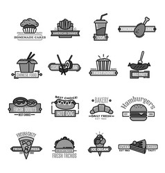 fast food icons of sushi seafood and bakery vector image