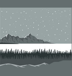 monochrome scene landscape background of far snowy vector image vector image