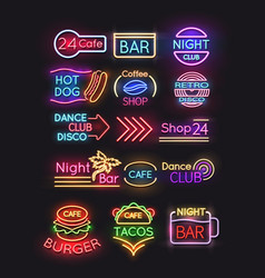 night bar burger coffee cafe neon signs set vector image vector image