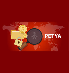 petya ransomware cyber attack virus computer vector image vector image