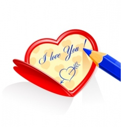 valentine as heart and pensile vector image vector image