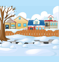 village scene with snow on the road and houses vector image