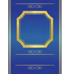 blue card with gold frame vector image vector image