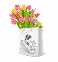 bouquet of tulips vector image