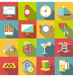 Hotel icons set flat style vector