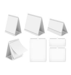 paper blank desk calendar set realistic vector image vector image