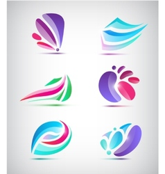 set of abstract floral icons vector image