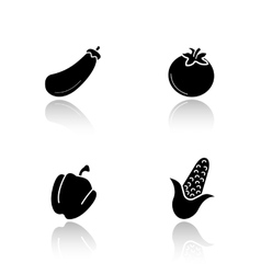 Vegetables drop shadow icons set vector image vector image