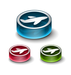 3d glossy travel web icon vector