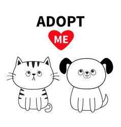 Adopt me contour sitting dog cat silhouette set vector