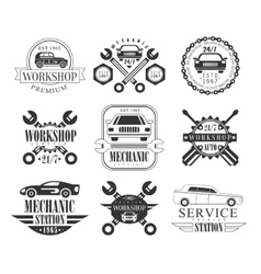 Auto Mechanic Black And White Emblems vector