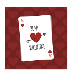 Be my valentine playing card vector