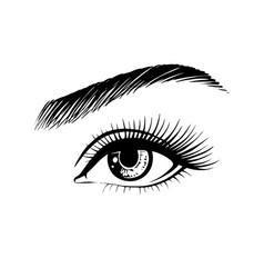 Beautiful female eye drawn hand vector