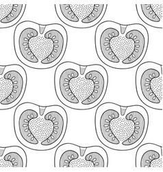 Black and white seamless pattern with tomatoes for vector