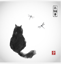 Black fluffy cat watching over dragonflies on vector