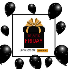 black friday sale banner realistic balloons with vector image
