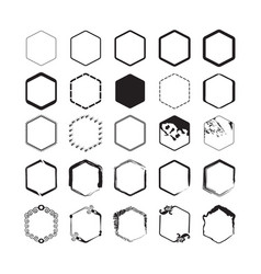 black hexagon styled borders emblems set on white vector image