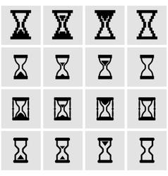 black hourglass icon set vector image