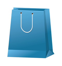 Blue paper shopping bag handle package icon vector