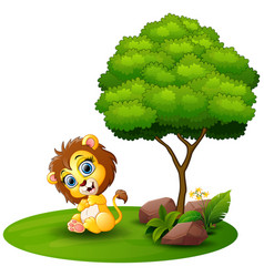 Cartoon lion sitting under a tree on a white backg vector