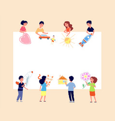 children painting banner kids drawing on wall vector image