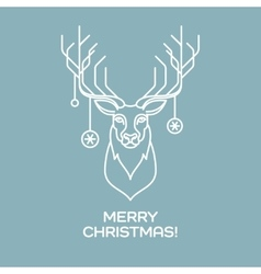 Christmas deer Line art vector image