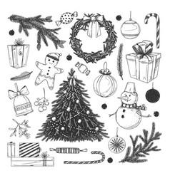 christmas sketches set vector image