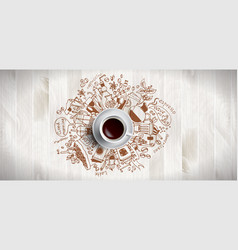 Coffee concept on wooden background - white vector