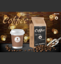 coffee cup with beans ads 3d hot vector image
