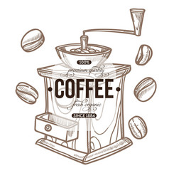 Coffee grinder and beans isolated sketch icon cafe vector