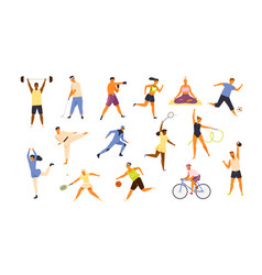 collection cute funny men and women performing vector image