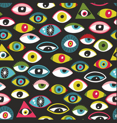 Colorful eyes people seamless patten vector