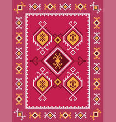 colorful tribal kilim rug with traditional folk vector image