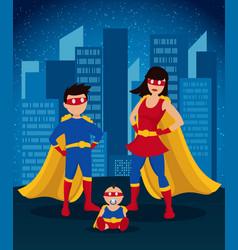 Comic colorful children superheroes template vector