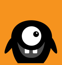 Cute black silhouette monster face icon happy vector