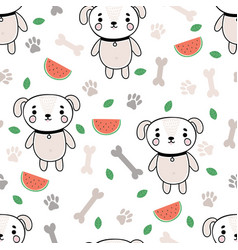 Cute summer seamless pattern with little dog vector