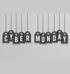 cyber monday price sale text labels transparent vector image