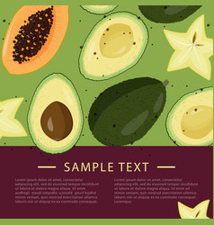 Design template with slices fruits bright vector