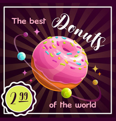 Donut planet banner food planet vector