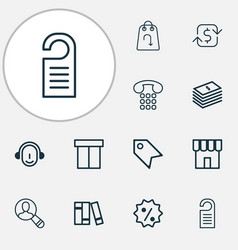 e-commerce icons set with paper money package vector image