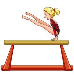 Female athlete on balance bar vector