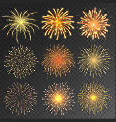 festive fireworks collection realistic colorful vector image