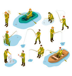 fisherman isometric fishing in river pond sea vector image